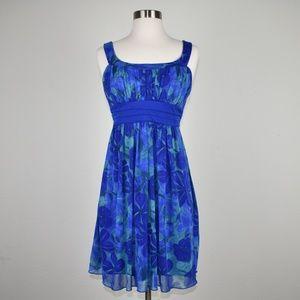City Studio blue floral mini dress Size M Hawaii